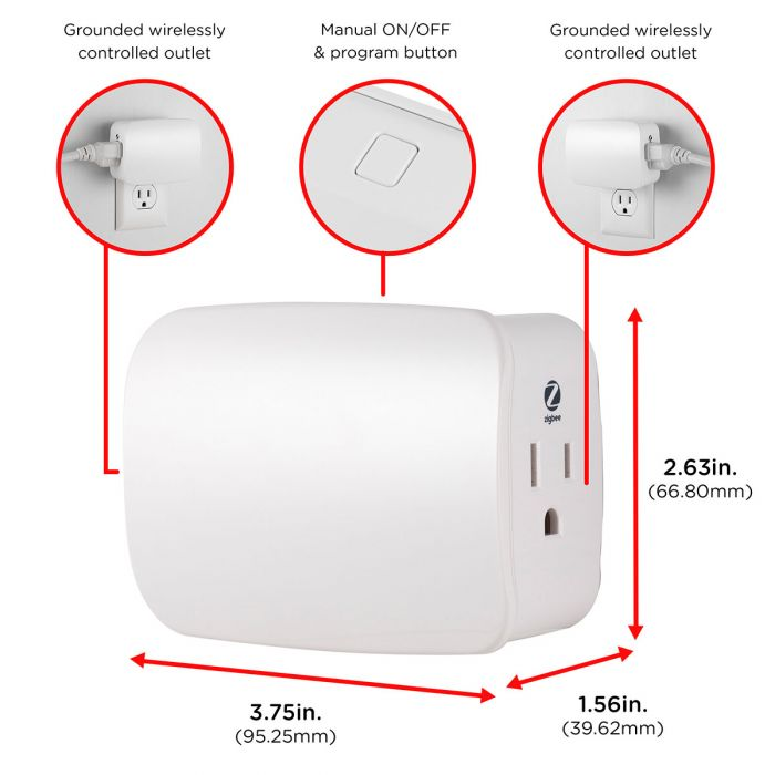 Enbrighten Zigbee Plug-In Smart Switch, Dual Controlled Outlets
