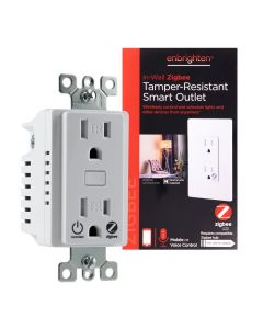 Enbrighten Zigbee In-Wall Tamper-Resistant Smart Outlet, White